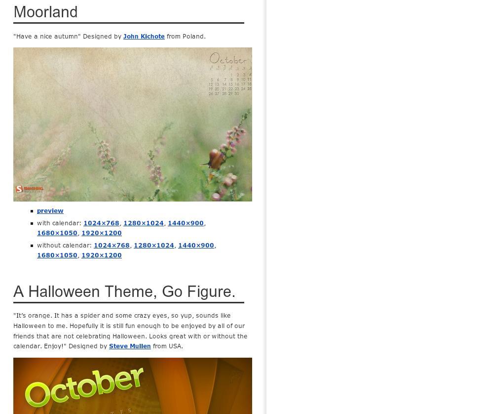 Desktop Wallpaper Calendars For October 2009