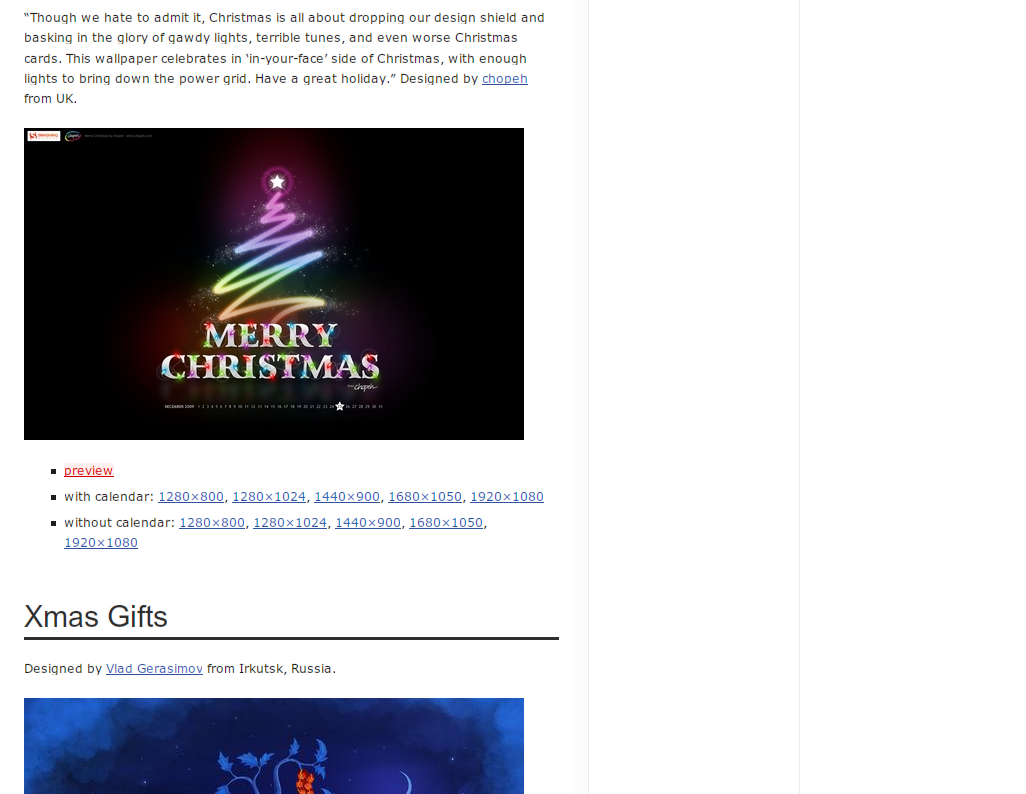 Desktop Wallpaper Calendar: December & Christmas 2009
